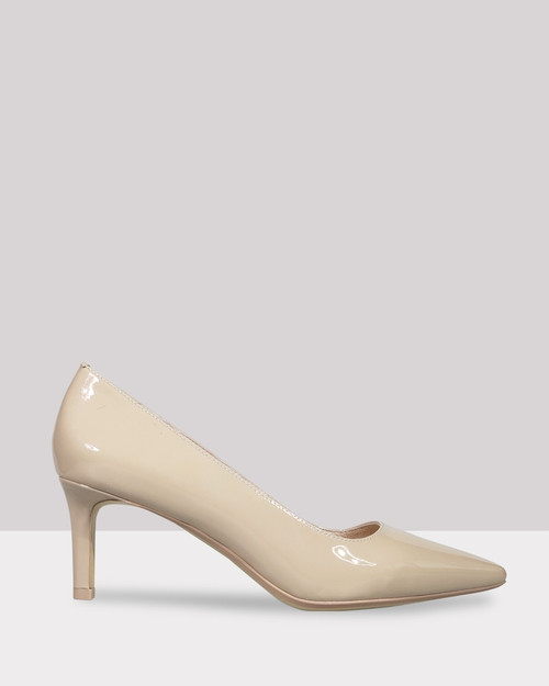 Delores Nude Patent Pointed Toe Mid Heel. & Wittner & Wittner Shoes