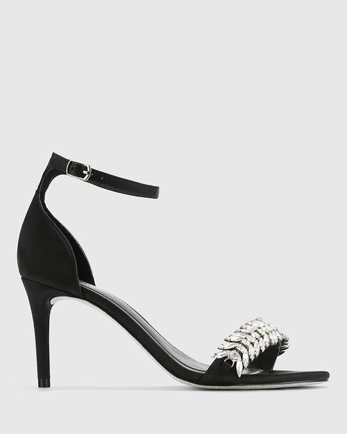 Indriana Black Satin Embelished Open Toe Stiletto Heel. & Wittner & Wittner Shoes