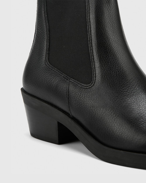 Isaac Black Natural Milled Leather Pull On Ankle Boot . & Wittner & Wittner Shoes