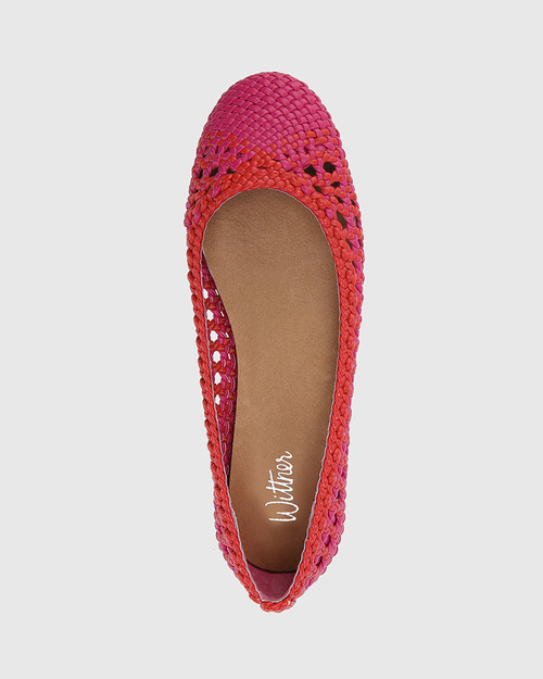 Candra Hot Pink & Red Weave Ballet Flat. & Wittner & Wittner Shoes