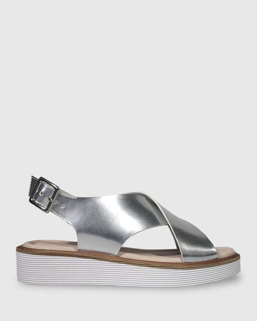 Timmie Silver Mirror Patent Slingback Flatform Sandal.