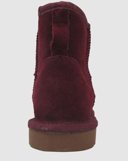 Cosy Burgundy Suede Shearling Lined Ankle Boot Slipper. & Wittner & Wittner Shoes