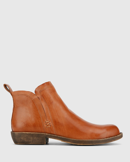Dan Brandy Nappa Leather Round Toe Ankle Boot . & Wittner & Wittner Shoes