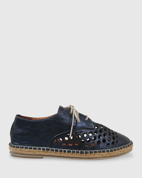Kabrina Navy Metallic Leather Perforated Espadrille Brogue. & Wittner & Wittner Shoes