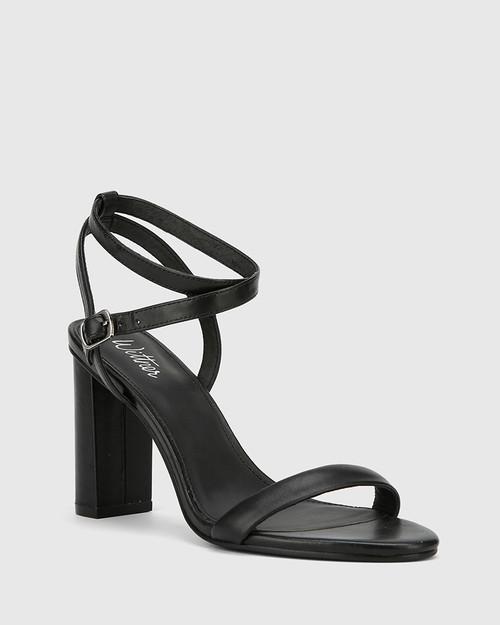 Raven Black Leather Open Toe Block Heel.