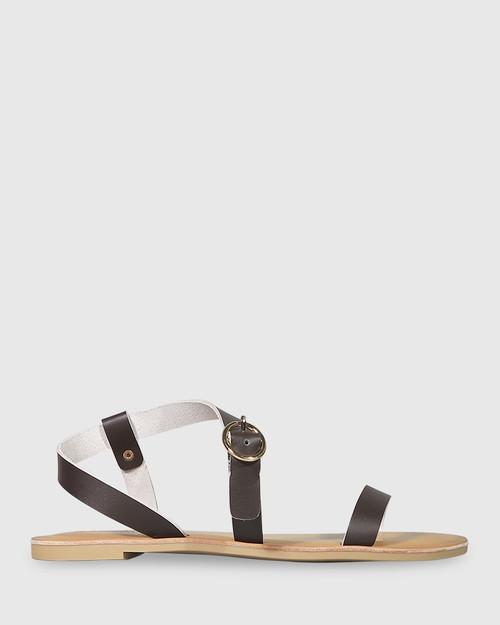 Farida Chocolate Leather Open Toe Flat Sandal. & Wittner & Wittner Shoes