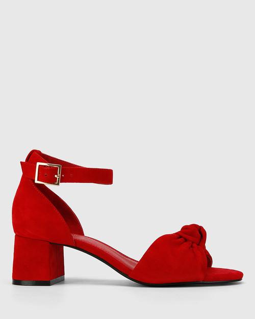Isadore Red Suede Block Heel Sandal. & Wittner & Wittner Shoes