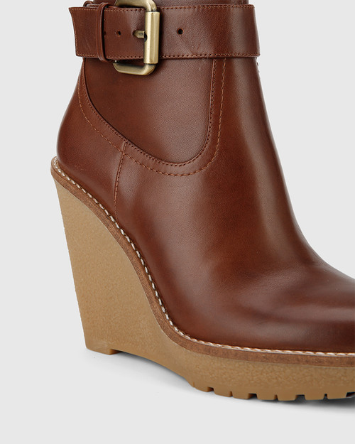 Theodore Brown Leather Wedge Ankle Boot. & Wittner & Wittner Shoes