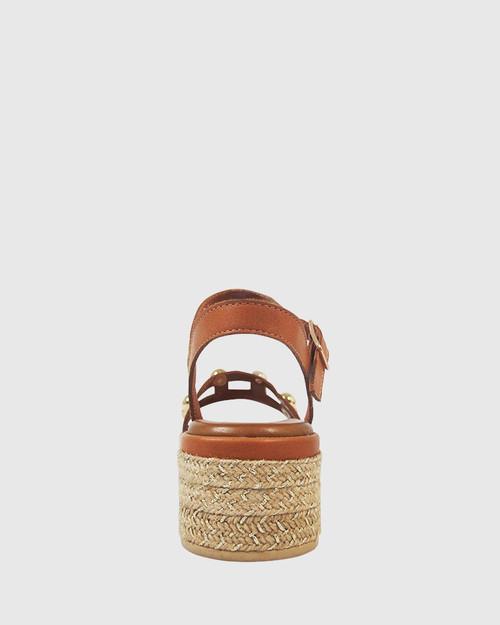 Kassidy Coconut Leather Gold Stud Flatform Sandal. & Wittner & Wittner Shoes
