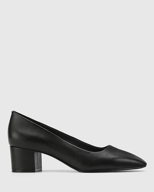 Gonzales Black Leather Square Toe Block Heel. & Wittner & Wittner Shoes