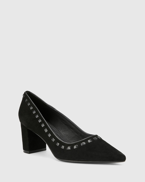 Dallory Black Suede Leather Pointed Toe Block Heel.