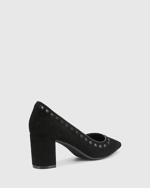 Dallory Black Suede Leather Pointed Toe Block Heel. & Wittner & Wittner Shoes