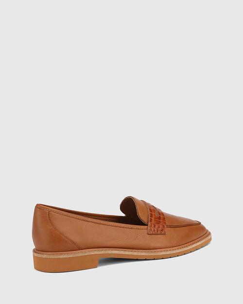 Espresso Cognac Leather Almond Toe Loafer & Wittner & Wittner Shoes