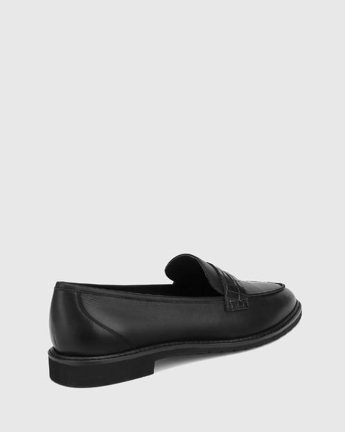 Espresso Black Leather Almond Toe Loafer & Wittner & Wittner Shoes