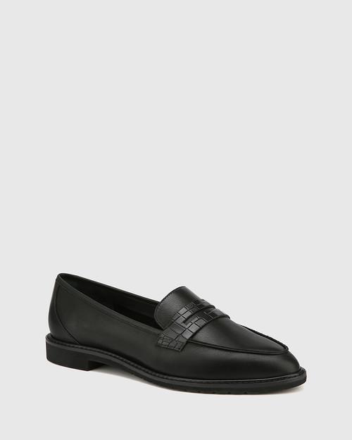 Espresso Black Leather Almond Toe Loafer