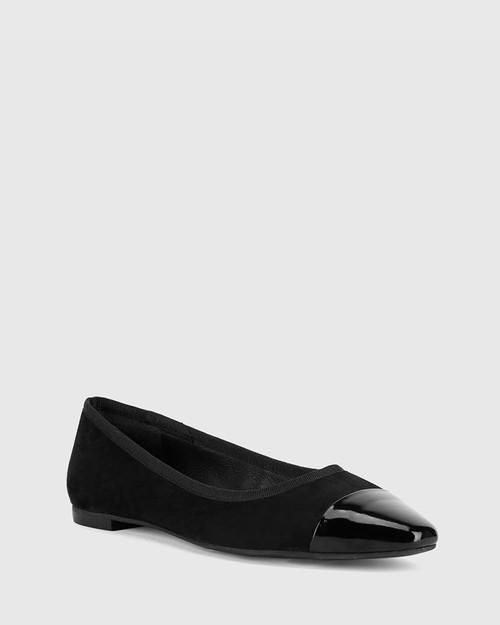 Ellie Black Suede/Patent Leather Flat Snib Toe Casual Shoe.