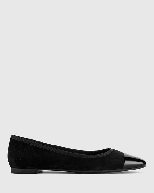 Ellie Black Suede/Patent Leather Flat Snib Toe Casual Shoe