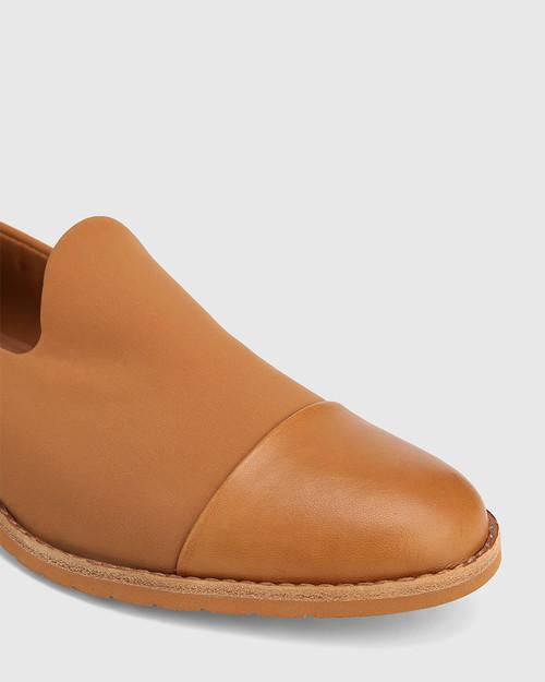 Jadya Tan Leather and Neoprene Loafer & Wittner & Wittner Shoes