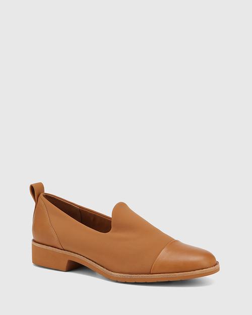 Jadya Tan Leather and Neoprene Loafer