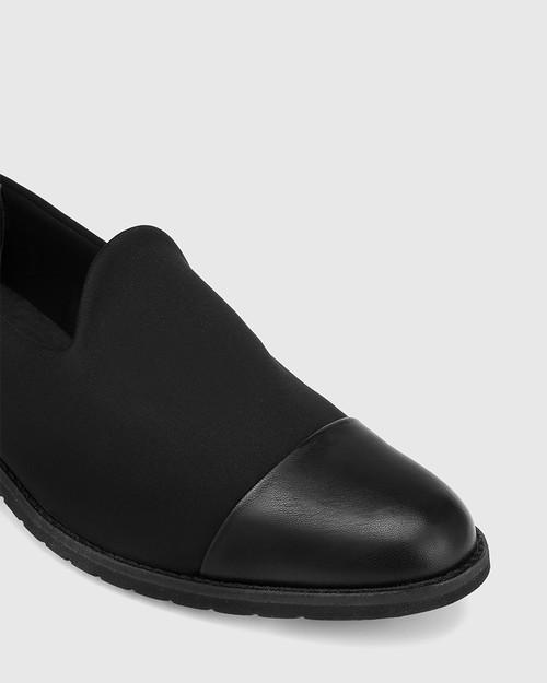 Jadya Black Leather and Neoprene Loafer. & Wittner & Wittner Shoes