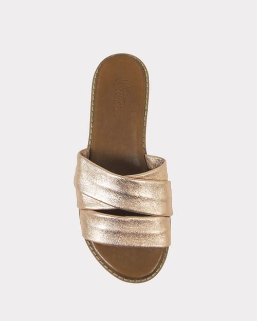 Kirri Rose Gold Leather Open Toe Cork Platform Slide.