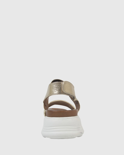 Kenya Gold Leather Open Toe Flatform Sandal. & Wittner & Wittner Shoes