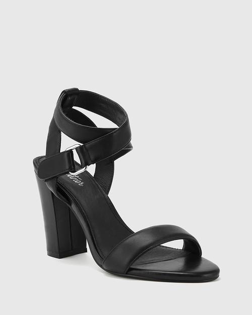 Ralexx Black Leather Open Toe Block Heel.