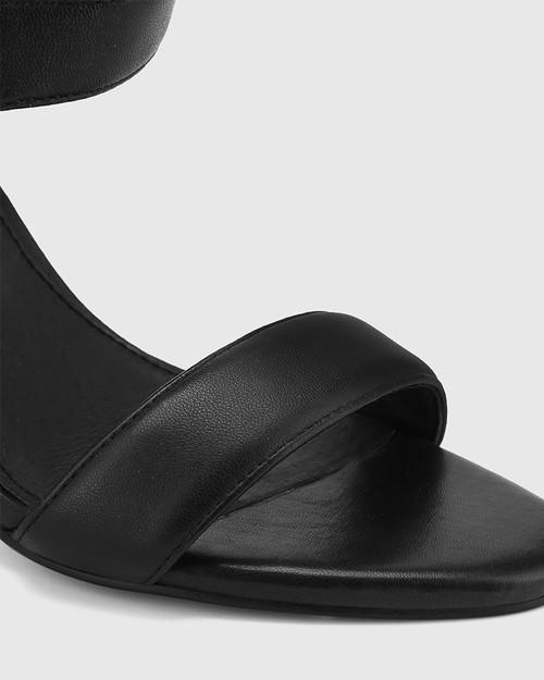 Ralexx Black Leather Open Toe Block Heel. & Wittner & Wittner Shoes