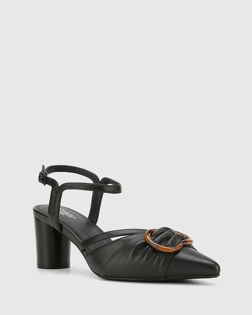 Daelyn Black Nappa Leather Block Heel.