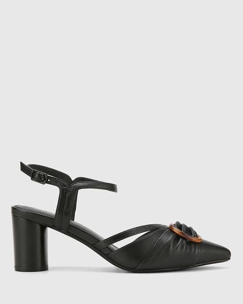Daelyn Black Nappa Leather Block Heel.
