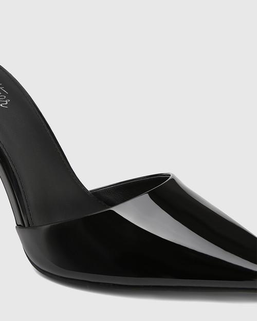 Hochi Black Patent Leather Stiletto Heel Pump