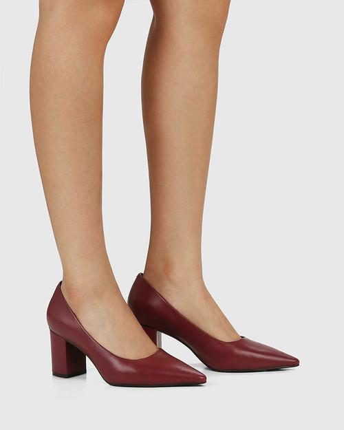 Penrose Bloodstone Leather Block Heel Pump & Wittner & Wittner Shoes