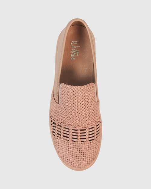 Delmont Nude Leather Slip On Sneaker.