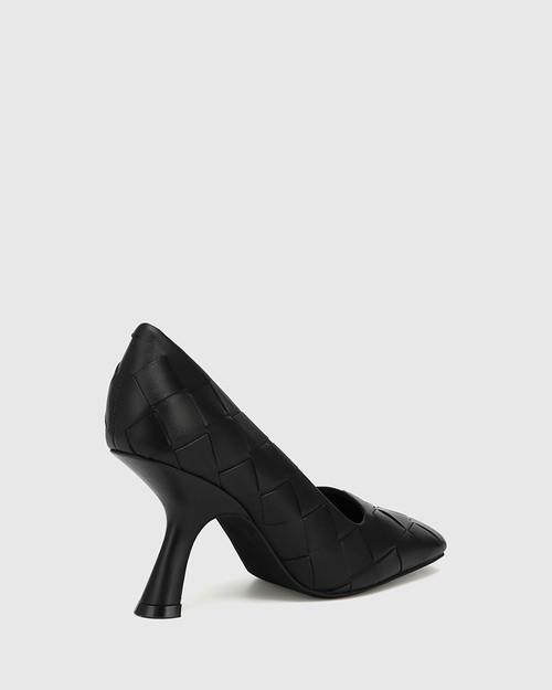 Xavi Black Woven Leather Slanted Stiletto Heel Pump & Wittner & Wittner Shoes