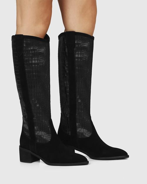 Juliet Black Suede Leather Croc Embossed Long Boot & Wittner & Wittner Shoes