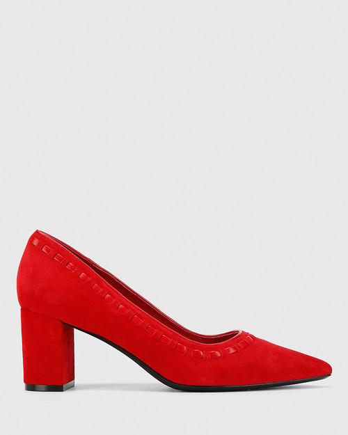 Dallory Red Suede Leather Block Heel Pump Point Toe. & Wittner & Wittner Shoes