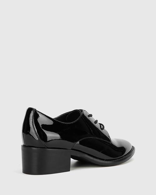 Farris Black Patent Block Heel Brogue. & Wittner & Wittner Shoes