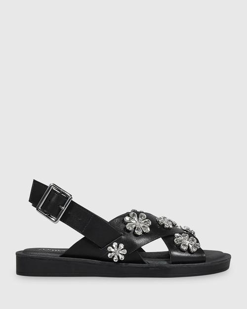 Elanna Black Leather Diamonte Flower Detail Flat Sandal. & Wittner & Wittner Shoes