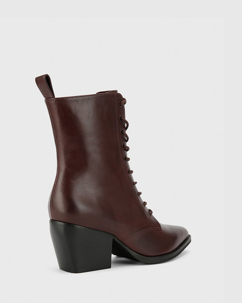 Kallie Wine Leather Pointed Toe Lace Up Block Heel Ankle Boot. & Wittner & Wittner Shoes
