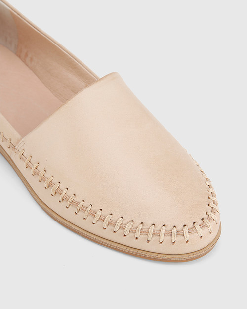 Christy Musk Nude Leather Round Toe Wedge Loafer.