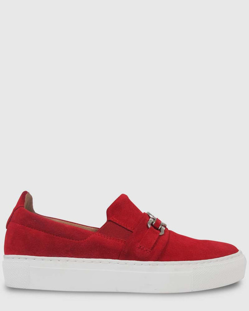 Patel Red Suede Sneaker with Silver Buckle
