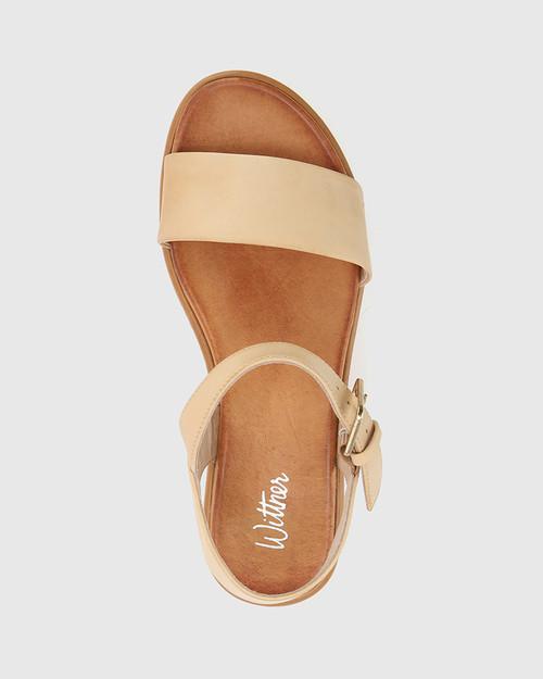 Ruben Nude Leather Cork Flatform Sandal. & Wittner & Wittner Shoes