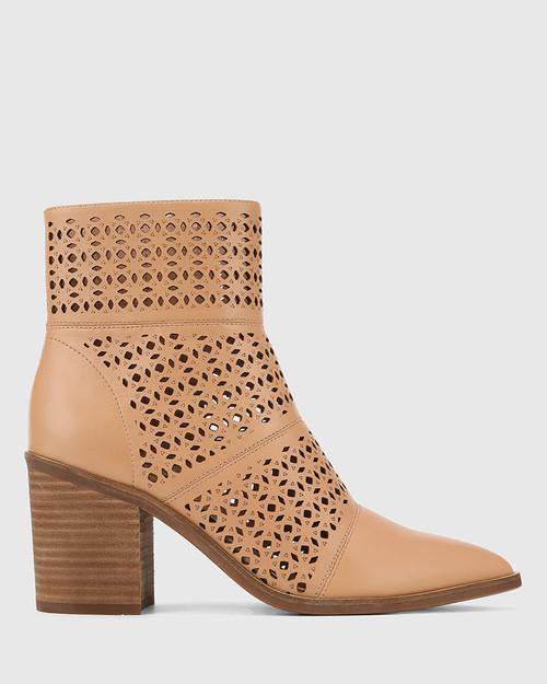 Pasher Desert Beige Leather Lasercut Block Heel Ankle Boot. & Wittner & Wittner Shoes