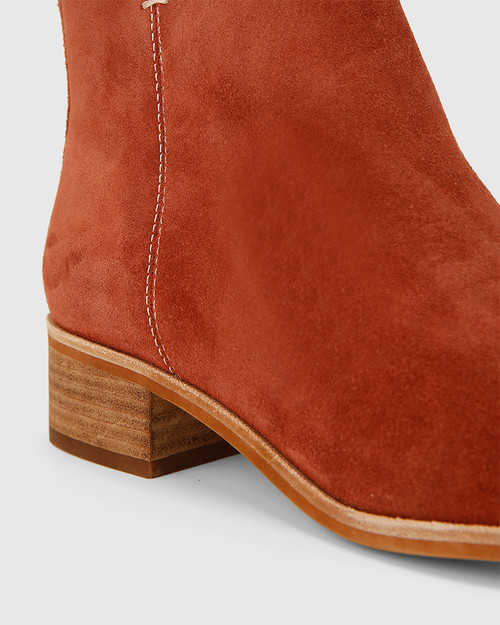 Glover Rust Suede Leather Flat Almond Toe Ankle Boot .