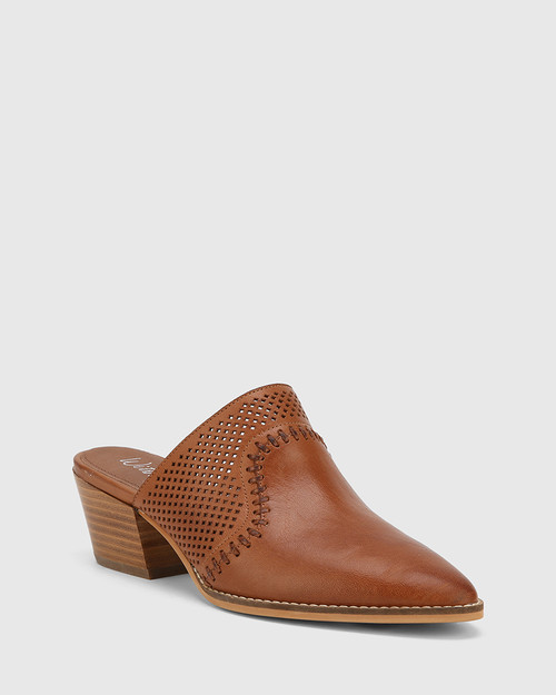 Kiara Dark Cognac Leather Block Heel Almond Toe Mule.