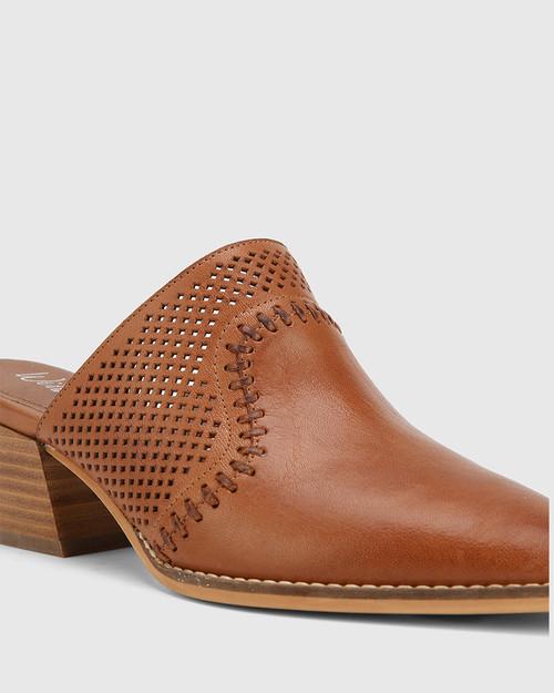 Kiara Dark Cognac Leather Block Heel Almond Toe Mule
