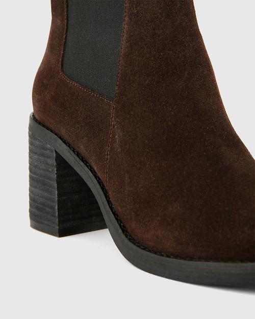 Tobey Grey Suede Elastic Gusset Block Heel Ankle Boot.
