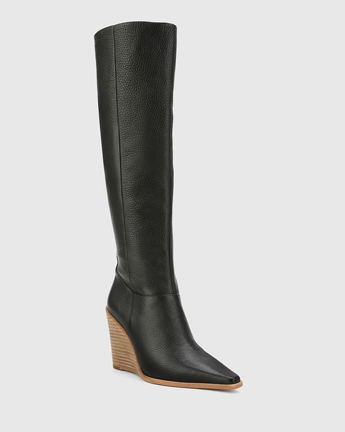 Habacus Black Leather Wedge Heel Long Boot.
