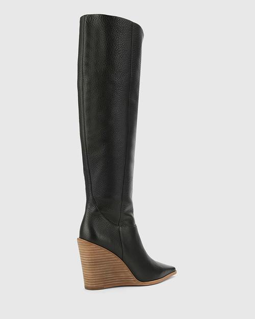 Habacus Black Leather Wedge Heel Long Boot. & Wittner & Wittner Shoes