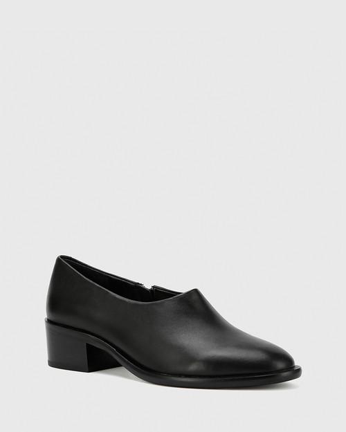 Fianna Black Nappa Leather Block Heel Bootie